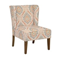 Ikat Print Wing Back Chair