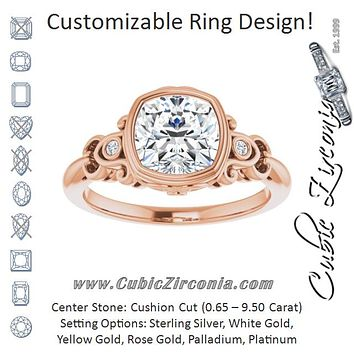 Cubic Zirconia Engagement Ring- The Viridiana (Customizable 5-stone Design with Cushion Cut Center and Quad Round-Bezel Accents)