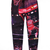 Black Emoji Michael 23 Dunk Basketball Print Hip-Hop Pants Trousers