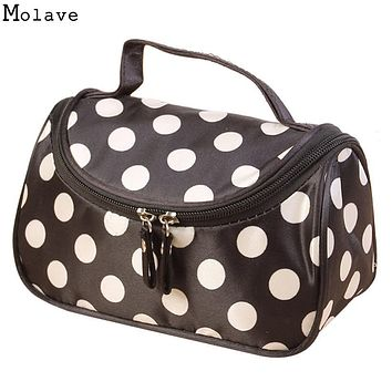 New Arrival Square Dot Portable Cosmetic Bag Travel CosmeticsBag Trousse De Maquillage Necessaire Women Toiletry Kits D35J21
