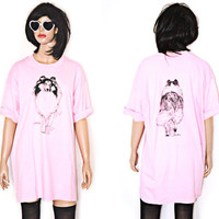 Bubblegum Pink Dog Print Collie T Shirt Weird Novelty 90s Vintage oversized XL