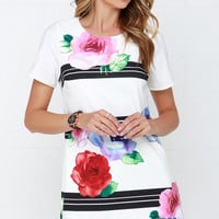 Watercolor Outside the Lines Ivory Floral Print Shift Dress