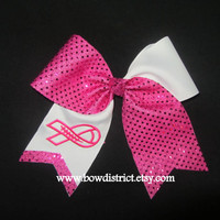 Breast Cancer Awareness Hot Pink Sequin Dot Hair Cheer Bow