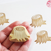 tree stump rubber stamp. tree hand carved rubber stamp.  tree stump pattern stamp. packaging/ card making/ craft supplies