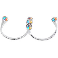Sterling Silver 925 Aurora Cubic Zirconia Double Toe Ring   Body Candy Body Jewelry
