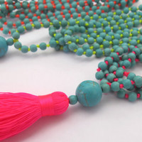 Turquoise Bead Neon Tassel Necklace - 4 Colors