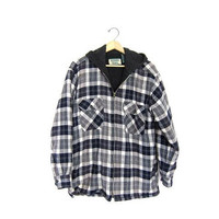 Vintage Flannel Jacket. Lined Plaid Shirt jacket with hood. Cotton Insulated Shirt. Fall Coat. Thick Flannel Jacket hoodie. Mens Medium