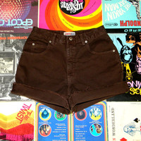Vintage Denim Cut Offs - 90s Brown Denim LONDON Jean Brand Jean Shorts - High Waisted Cut Off/Frayed/Rolled up/Cuffed Shorts Size 6/8