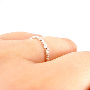 Delicate Silver Ring, Silver Everyday Ring, Thin Silver Ring, Simple Silver Ring, Super Skinny Ring, Beaded Stackable Fine Silver Ring