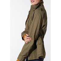 Stand Collar Safari Anorak Jacket with Pockets