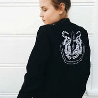 Black Tiger Embroidery Stand Collar Zipper Pockets Jacket