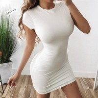 Ladies Short Sleeve Casual Bodycon Solid Party Dress Sexy Dresses Women Lady Summer Clothing Bodycon