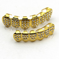 Gold Plated ICED OUT CZ Teeth GRILLZ Top Bottom Tooth Caps Hip Hop Bling