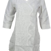 Mogul Interior Womans Dress Stagger Design Cotton Hand Embroidered Tunic Cover up S: Amazon.ca: Clothing & Accessories