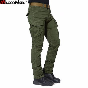 MAGCOMSEN Cargo Pants Men Cotton Military Multi-Pockets Army Long Tactical Pants Workout Trousers Pantalones Hombre AG-BDC-01