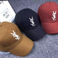 """Yves Saint Laurent YSL"" Unisex Simple Casual Letter Embroidery Wool Flat Cap Sun Hat Baseball Cap"