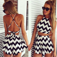 Sexy stripes dresses two-piece  WOUY