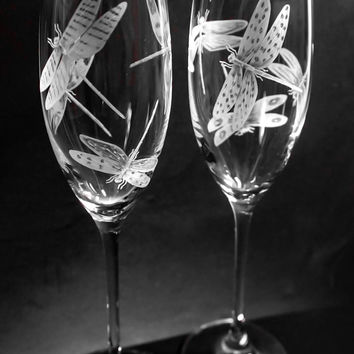 Dragonflies on Champagne flutes