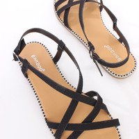 Black Snake Skin Textured Cross Strappy Sandals Faux Leather