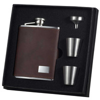 Hunter Dark Brown Leather 6oz Deluxe Flask Gift Set