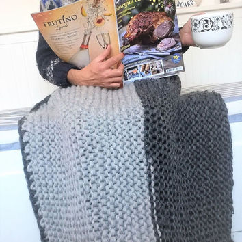 Chunky Knit Throw, Knitted Throws for Beds, Large Knit Wool Rug Hand Knit Merino Wool Blanket, Super Chunky Bulky Wool Yarn Knitted Bedspead