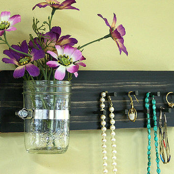 Jewelry Holder Key Holder Organizer Wall Hanging Vintage Black Necklace Holder Wall Vase Mason Jar Earrings