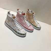 LV Louis Vuitton Woman Genuine Leather Fashion Casual Boots Sneakers Shoes