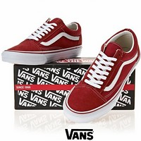 VANS couple low help classic white canvas shoes men's shoes women's shoes F red