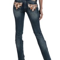 Miss Me Medium Wash with Cowhide Open Pocket Boot Cut Jean