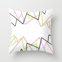 Lime Green Pink & Black Lines Throw Pillow by PoseManikin