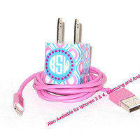 Personalized iPhone Charger with Monogram Initials