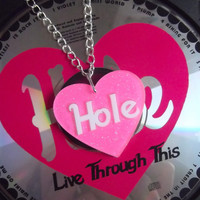 Glitter Hole heart hot pink necklace