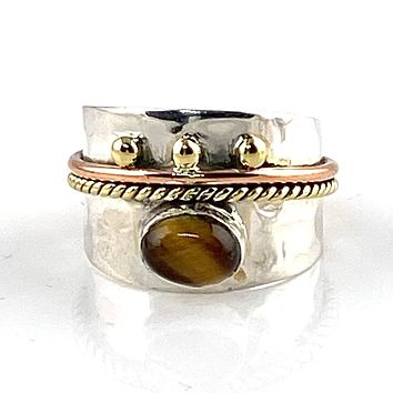 Tigers Eye Three Tone Sterling Silver Regal Band Ring
