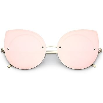 Oversize Rimless Mirrored Cat Eye Flat Lens Sunglasses A204