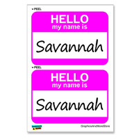 Savannah Hello My Name Is - Sheet of 2 Stickers