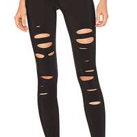 alo High Waist Ripped Warrior Legging in Black | REVOLVE