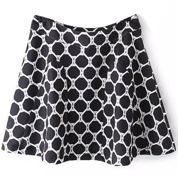 Black Geometric Printed Pleated Skirt