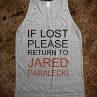 IF LOST PLEASE RETURN TO JARED