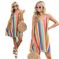 2020 new women's sexy color striped suspender dress