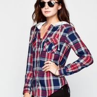 ALI & KRIS Womens Hooded Flannel Shirt 240505249 | Blouses & Shirts