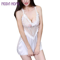 sexy sleepwear lace thongs women sexy mini dress g-string nightwear lingerie see through women costume extra large size TIML66