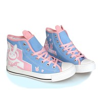 Summer Cute Kawaii D.va Canvas Shoes For Cosplay Costume Dva Shoes Women Rabbit Breathable Casual Shoes