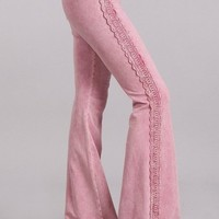 Chatoyant Mineral Wash Bell Bottom Soft Pants - Rose Pink Lace Trim