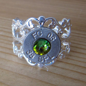 38 Special Bullet Ring with Rainbow Vitrial  Swarovski Crystal Accents - Small Thin Cut - Girls with Guns