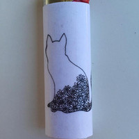 Floral cat custom BIC lighter