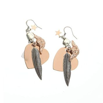 Rose Gold and Silver Heart Hansen Charm Earrings