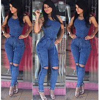 FITTED DENIM JUMPSUIT
