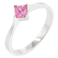 Classic Petite Pink Ice Solitaire Ring, size : 08