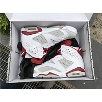 "Air Jordan 6 ""Hare"" white red Basketball Shoes 36-47"