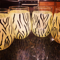 Zebra Print  Painted in Gold with Black  Bridal shower favors , Bridesmaid gifts